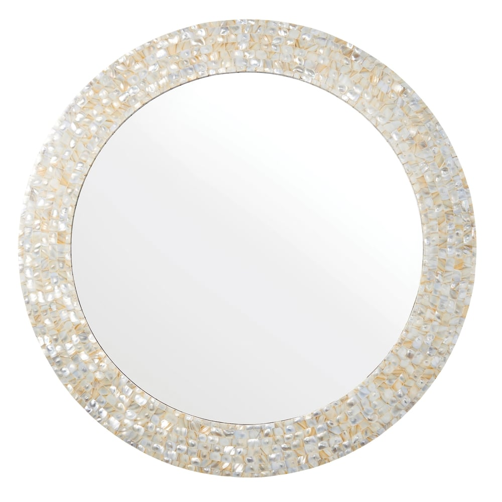 Endon Lighting Bexley Round Mirror In Mother Of Pearl