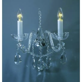 Bila 2 Light Wall fitting In Polished Chrome And Clear Crystal Finish