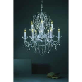 Bila 9 Light Ceiling Pendant In Polished Chrome And Clear Crystal Finish