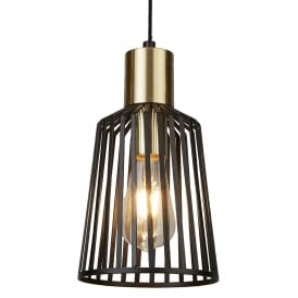 Bird Cage Single Light Ceiling Pendant in Black And Satin Brass Finish