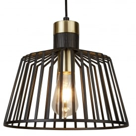 Bird Cage Single Light Large Ceiling Pendant in Black And Satin Brass Finish