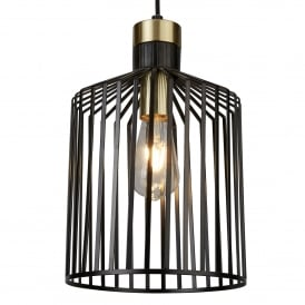 Bird Cage Single Light Medium Ceiling Pendant in Black And Satin Brass Finish