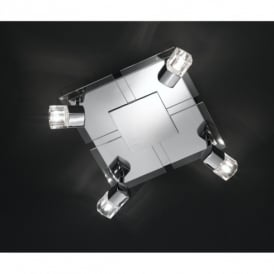 Bissau Chrome And Glass Halogen 4 Light Square Fitting With Acrylic/Crystal Glass Shades