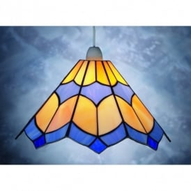 Bistro Blue And Cream Tiffany Ceiling Light Pendant Shade