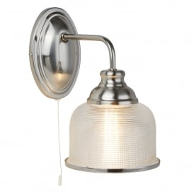 Bistro II Single Light Wall Fitting In Satin Silver Finish With Halophane Glass Shades