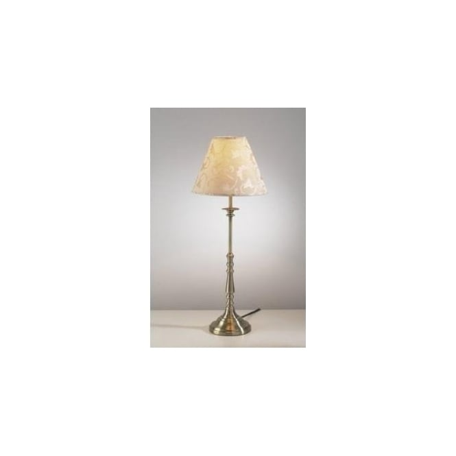 Dar Lighting Blenheim Single Light Table Lamp In Antique Brass Finish With Cream Shade