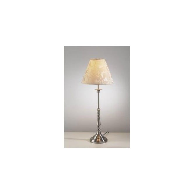 Dar Lighting Blenheim Single Light Table Lamp In Satin Chrome Finish With Cream Shade