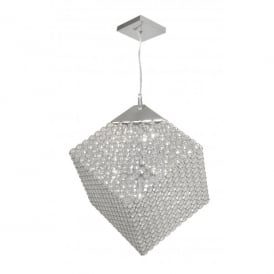 Blitz 7 Light Halogen Ceiling Pendant In Polished Chrome Finish With Crystal Detail