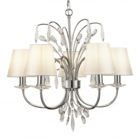 Bloom 5 Light Ceiling Pendant In Polished Chrome With Crystal Decoration And White Shades