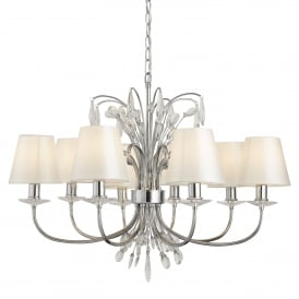 Bloom 8 Light Ceiling Pendant In Polished Chrome With Crystal Decoration And White Shades