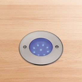 Blue LED 9 Walkover/Driveover Outdoor Light in Stainless Steel Finish