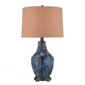 Bluefield Single Light Table Lamp Blue Ceramic Finish with Brown Shade