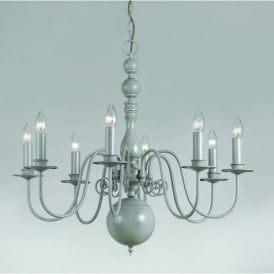 Bologna 8 Light Chandelier Fitting in a Hand Painted Grey Finish