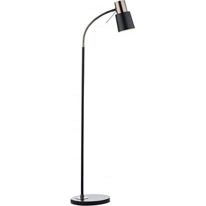 Bond Single Light Floor Lamp In Matt Black And Burnished Copper Finish