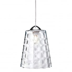 Bordeaux Single Light Ceiling Pendant In Polished Chrome And Clear Glass Dimpled Shade