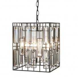 Borg 4 Light Ceiling Pendant In Matt Black Finish With Clear Acrylic Decoration