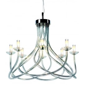 Borosi 8 Light Ceiling Pendant In Polished Chrome And Clear Crystal Glass Finish