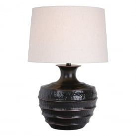 Borys Single Light Table Lamp in Antique Bronze Finish Complete with Natural Linen Shade