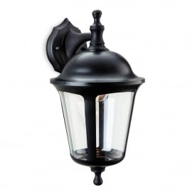 Boston Single Light Outdoor Down Light Wall Lantern In Black Finish