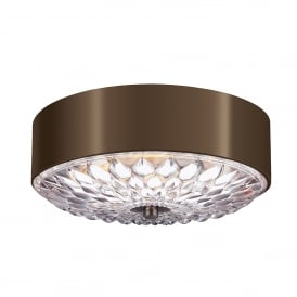 Botanic 3 Light Small Flush Ceiling Fitting in Dark Aged Brass Finish