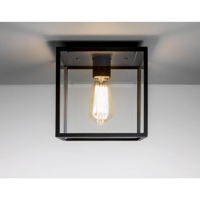 Astro Lighting Box Single Light Exterior Porch Ceiling Light In Black Finish With Clear Glass Panels