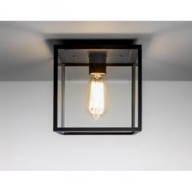 Box Single Light Exterior Porch Ceiling Light In Black Finish With Clear Glass Panels