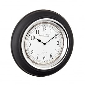 Boyd Wall Clock in Black Painted Wood and Polished Nickel Plated Finish