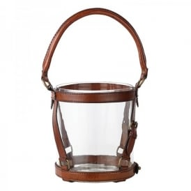 Bramer Candle Lantern With Clear Glass And Leather Detail