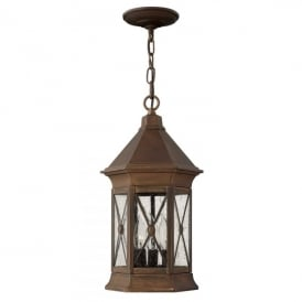 Brighton 3 Light Outdoor Ceiling Pendant in Solid Brass