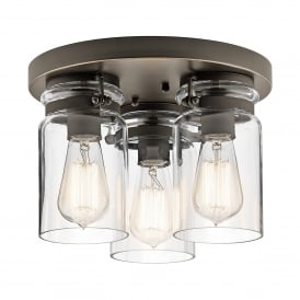Brinley 3 Light Flush Ceiling Fitting in Olde Bronze Finish with Clear Glass Shades
