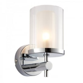 Britton Single Light Bathroom Wall Fitting In Polished Chrome Finish With Frosted Glass Shade