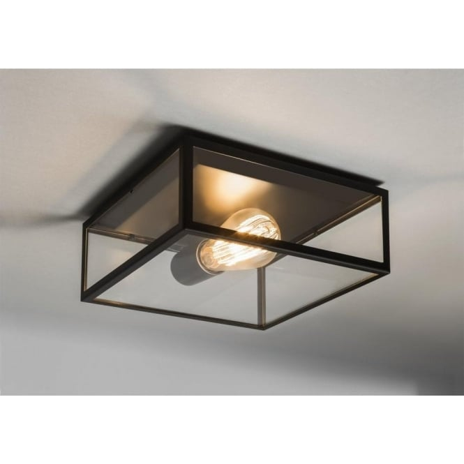 Astro Lighting Bronte Single Light Exterior Porch Ceiling Light In Black Finish With Clear Glass Panels