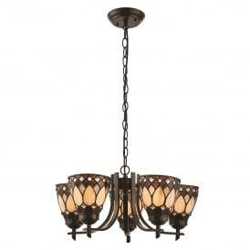 Brooklyn 5 Light Ceiling Uplighter Pendant In Dark Bronze Finish With Tiffany Art Deco Shade