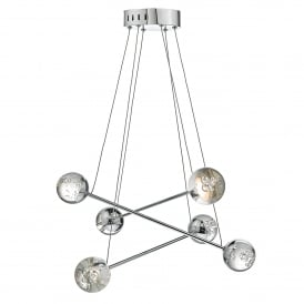 Bubble 6 LED Ceiling Pendant in Polished Chrome Finish with Acrylic