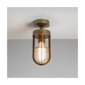 Cabin Single Light Outdoor Semi Flush Ceiling Fitting In Antique Brass Finish