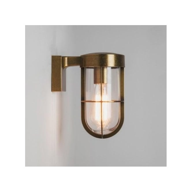 Astro Lighting Cabin Single Light Outdoor Wall Fitting In Antique Brass Finish