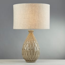 Cadence Single Light Table Lamp With Neutral Ceramic Base And Hessian Shade