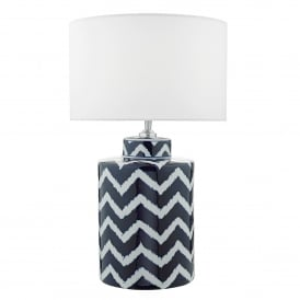 Caelan Single Light Ceramic Lamp Base Only in Blue and White Finish