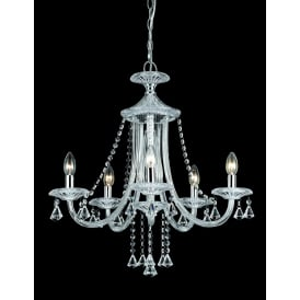 Calagary 5 Light Ceiling Pendant In Polished Chrome And Clear Crystal Finish