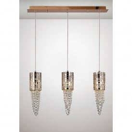 Camden 3 Light Ceiling Bar Pendant In Rose Gold Mosaic Glass And Crystal Finish