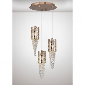 Camden 3 Light Ceiling Pendant In Rose Gold Mosaic Glass And Crystal Finish