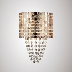 Camden Single Light Wall Fitting In Rose Gold Mosaic Glass And Crystal Finish