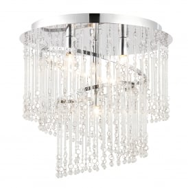 Camille 4 Light Halogen Semi Flush Ceiling Fitting in Polished Chrome