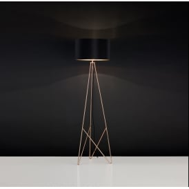 Camporale Single Light Floor Lamp In Copper And Black Finish