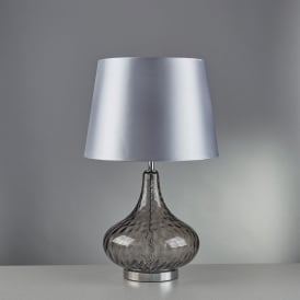 Cantata Single Light Table Lamp With Smoked Glass Base And Silver Faux Silk Shade
