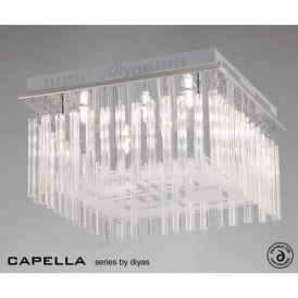 Capella 6 Light Polished Chrome Flush Ceiling Fitting with Glass Detail