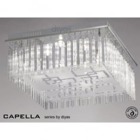 Capella Large 8 Light Polished Chrome Flush Ceiling Fitting with Glass Detail