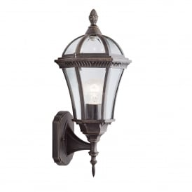 Capri Single Light Outdoor Uplighter Wall Lantern In Rustic Brown Finish With Bevelled Glass