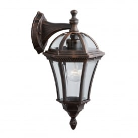 Capri Single Light Outdoor Wall Lantern In Rustic Brown Finish With Bevelled Glass