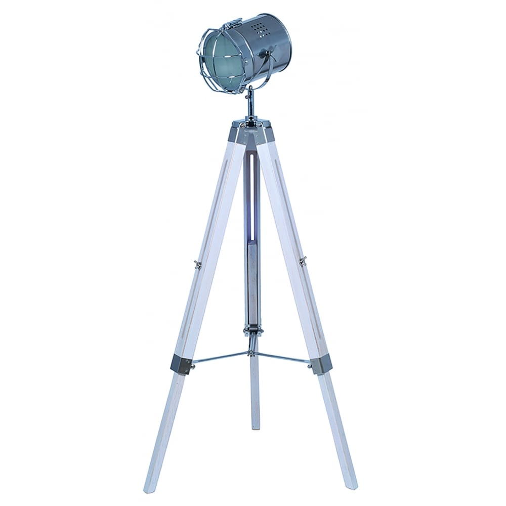 Pacific lifestyle capstan single light white wash wooden for Wilko tripod floor lamp white